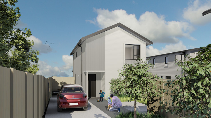 Architect's render of a three-bedroom home