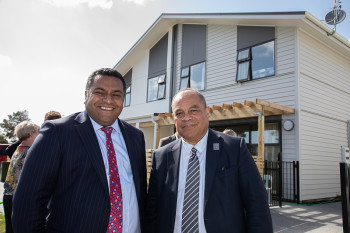 Minister Faafoi and Minister Sio in front of a newly built house in Mangere Auckland
