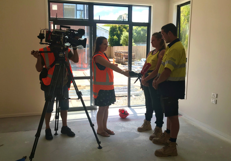 The apprentices are interviewed by a 1News reporter on camera for the news item.