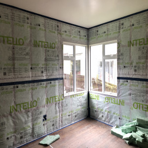Full floor and ceiling insulation and double glazed windows in a house